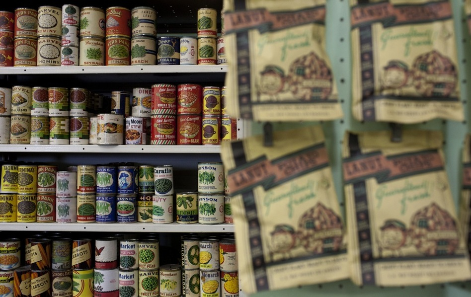 Old grocery goods line the shelves at History for Hire. Some of the labels are originals; others have been reconstructed by History for Hire's graphics department. The prop house has a huge archive of thousands of labels from different packages and cartons. (Katie Falkenberg for NPR)