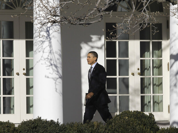 President Obama outside the White House West Wing, Feb. 10, 2011.