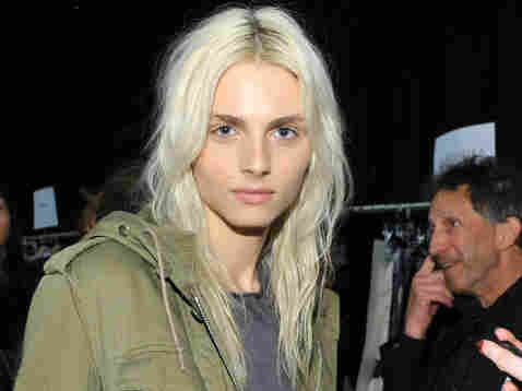 Andrej Pejic poses backstage at the Custo Barcelona Fall 2011 fashion show during New York's Fashion Week.