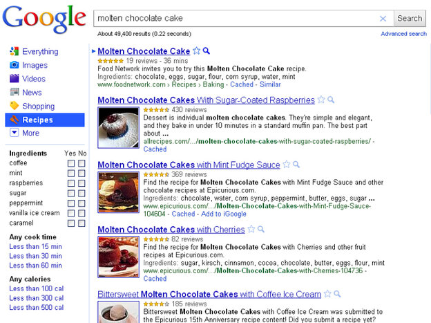 Variations On Chocolate Cake: Google's new Recipe View is designed to help cooks sift through recipes on the web. Here, the res