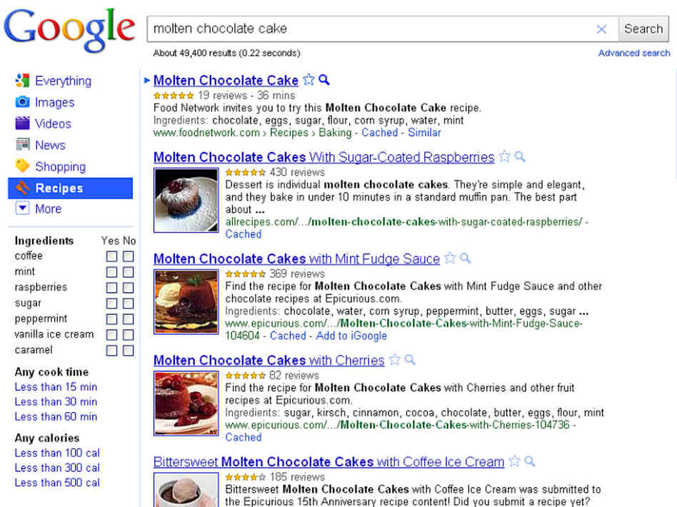 Variations On Chocolate Cake: Google's new Recipe View is designed to help cooks sift through recipes on the web. Here, the results for a search for Molten Chocolate Cake.