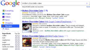 Variations On Chocolate Cake: Google's new Recipe View is designed to help cooks sift through recipes on the web. Here, the results for a se