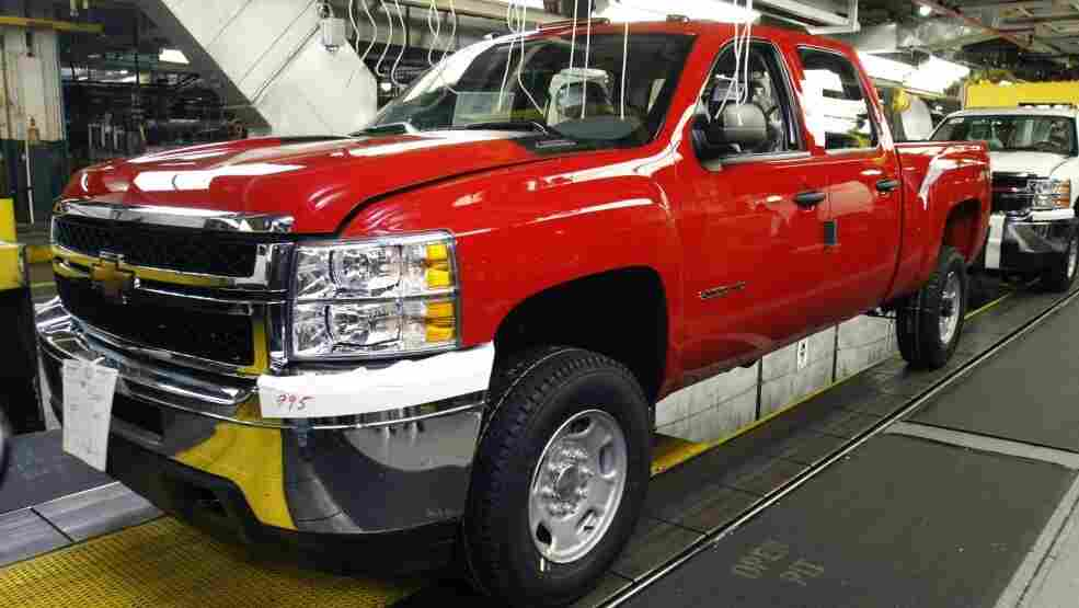 A Chevy Silverado Coupe Cab HD truck on the assembly line in Flint, Mich., last month.