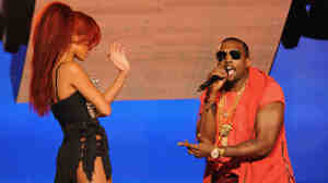 "Kayne West performs with Rihanna at half-time of the NBA All-Star Game. A video for their song ""All The Lights"" has been pulled from YouTube."