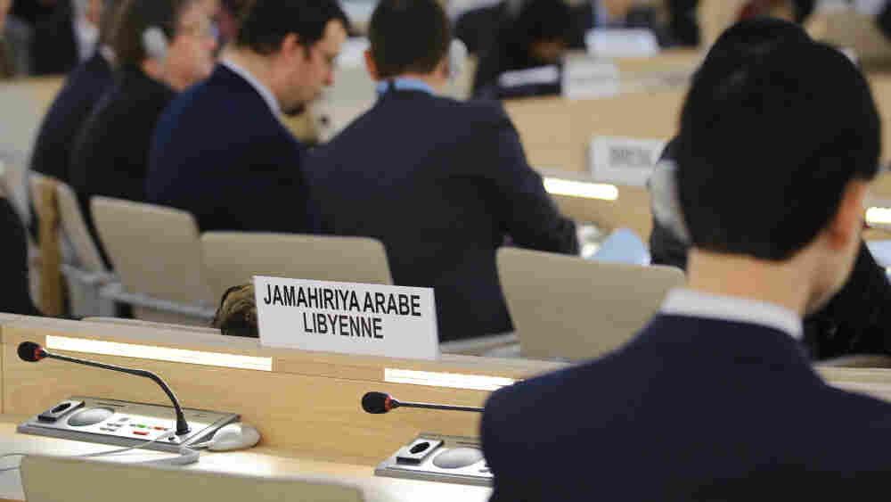 Libya's seat is seen empty during a special session of the United Nations' Human Rights Council about the crisis in Libya on Friday in Geneva.