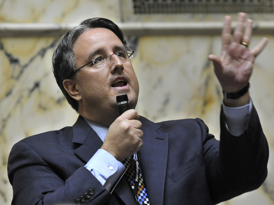 Richard Madaleno, the only openly gay member of the Maryland state Senate, speaks out in support of  a gay-marriage bill in Annapolis on  Thursday. The bill passed later in the day and now heads to the House  of Delegates. (Gail Burton/AP)