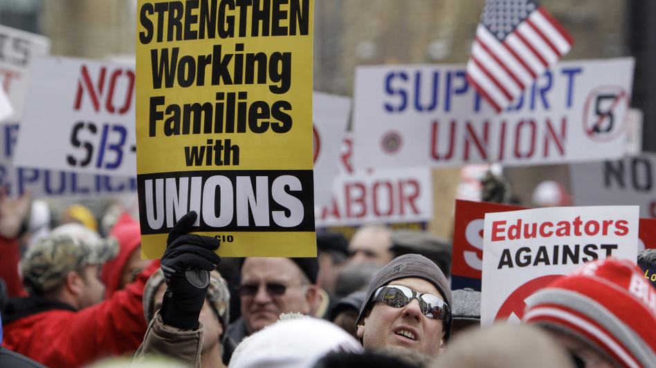 Demonstrators gathered outside the Ohio Statehouse last week to protest Senate Bill 5, which would have banned collective bargaining for state workers. Unions say legislation being pushed by Republican governors nationwide is an attack on their very existence.