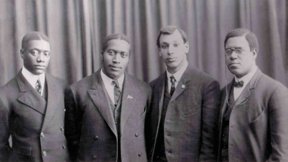 The Fisk University Jubilee Quartet in 1909, from left: Alfred G. King (first bass), James A. Myers (second tenor), Noah W. Ryder (second bass) and John W. Work II (first tenor).