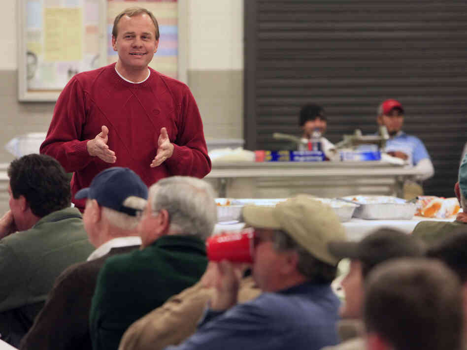 "Rep. Stephen Fincher (R-TN), seen here in February 2010 campaigning for his seat, is spending as little time as possible in Washington, D.C., in order to preserve his ""Frog Jump common sense."" The congressman is from the tiny community of Frog Jump, Tenn."