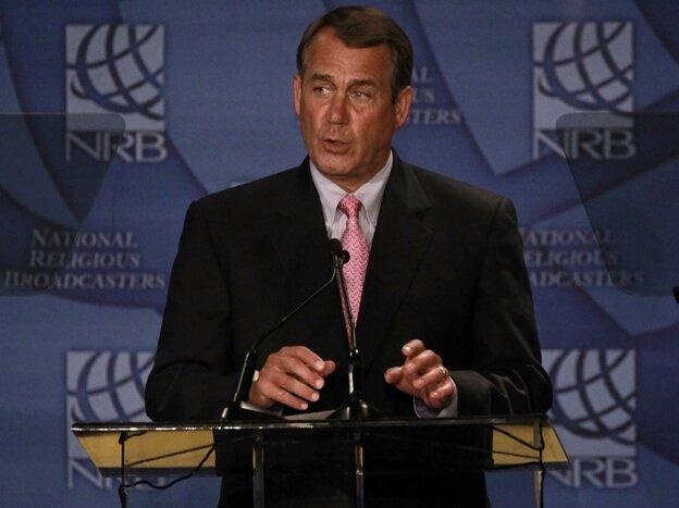House Speaker John Boehner speaks to religious broadcasters.