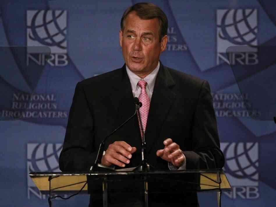 House Speaker John Boehner speaks to religious broadcasters.