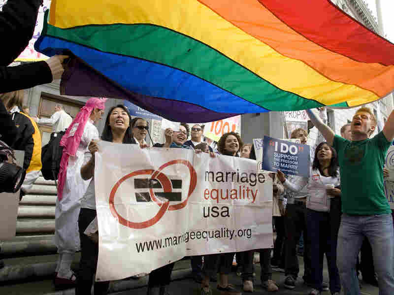 People rallying in front of the California Supreme Court Building as arguments are heard for and against Proposition 8 in San Francisco in 2009. Last week, the Obama administration announced that it would stop supporting the Defense of Marriage Act (DOMA).