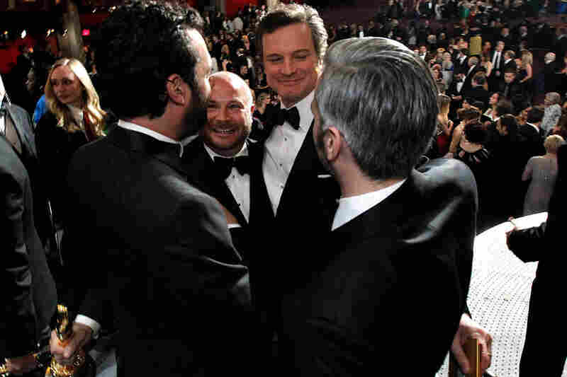(From left) Emile Sherman, Gareth Unwin, Colin Firth and Iain Canning celebrate their Oscar for The King's Speech at the 83rd Academy Awards on Sunday night (Chris Carlson/AP).