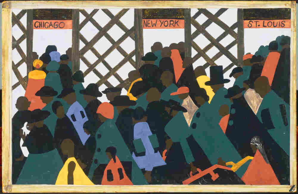 """Panel No. 1 from Jacob Lawrence, The Migration Series. The panel is titled: """"During World War I there was a great migration north by southern African Americans."""""""