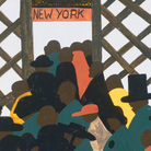 "Panel No. 1 from Jacob Lawrence, The Migration Series. The panel is titled: ""During World War I there was a great migration north by southern African Americans."""
