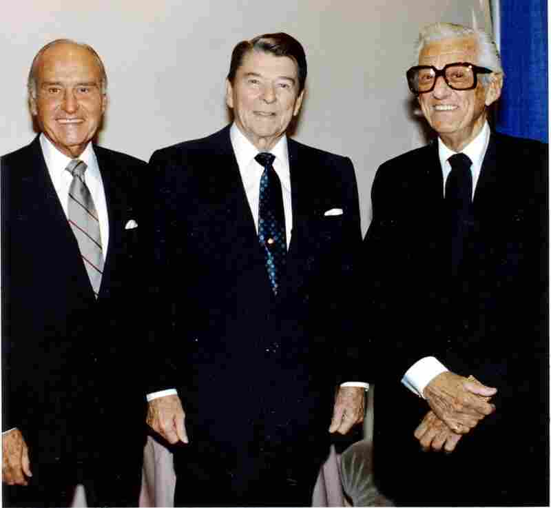 Lyles arrived in Hollywood around the same time a young actor named Ronald Reagan came onto the scene. The two friends are pictured above (Lyles left, Reagan center) with talent agent and studio executive Lew Wasserman.