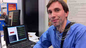 Michael Wand of the Cognitive Systems Laboratory at the Karlsruhe Institute of Technology in Germany demonstrates a technology that recognizes speech through muscle activity in the face rather than sound.