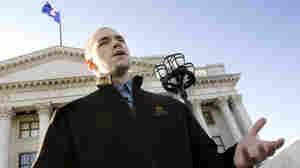 Tim DeChristopher speaks at the Utah State Capitol in Salt Lake City on Wednesday, Feb. 4, 2009.