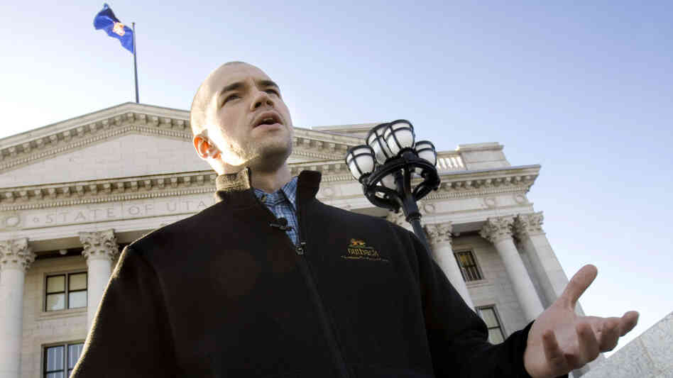 Tim DeChristopher speaks at the Utah State Capitol in Salt Lake City on Wednesday, Feb. 4, 2009.