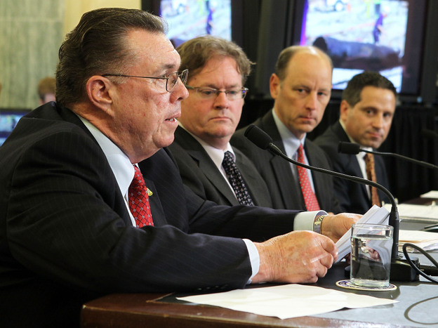 San Bruno Mayor Jim Ruane (far left) testifies during a hearing before the Senate Commerce, Science and Transportation Committee on Sept. 28.