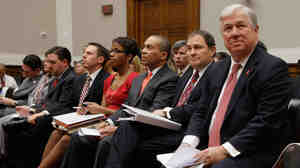 Govs. Haley Barbour of Mississippi (from right), Gary Herbert of Utah and Deval Patrick of Massachusetts prepare to testify on Capitol Hill.