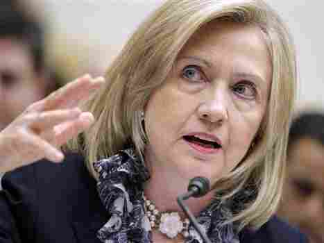 """""""One of those actions that is under review is a no-fly zone"""" in Libya, Secretary of State Hillary Rodham Clinton told the House Foreign Affairs Committee."""