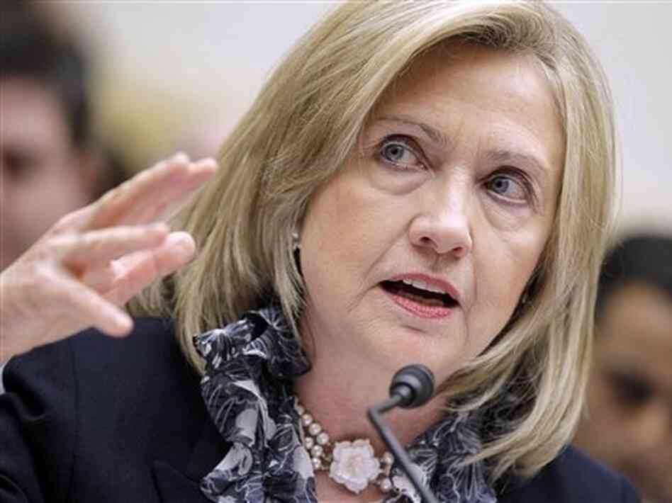 """One of those actions that is under review is a no-fly zone"" in Libya, Secretary of State Hillary Rodham Clinton told the House Foreign Affairs Committee."