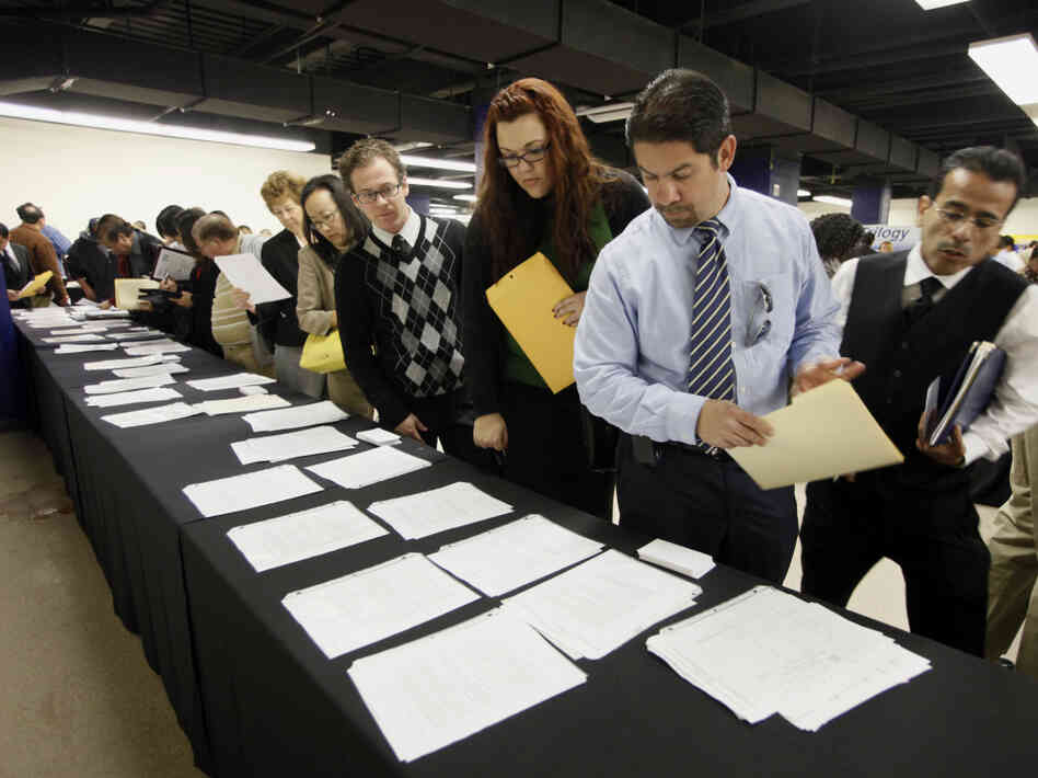 Pople at an Anaheim, Calif. job fair Thursday, Feb 24, 2011.