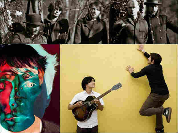 Radiohead (top), Panda Bear (bottom left), The Dodos (bottom right).
