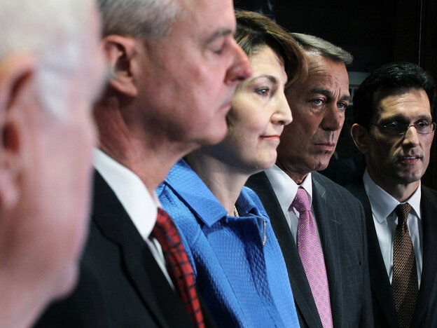 From left: Republican U.S. Reps. Steve Womack, Cathy McMorris Rodgers, House Speaker John Boehner and House Majority Leader Eric Cantor.
