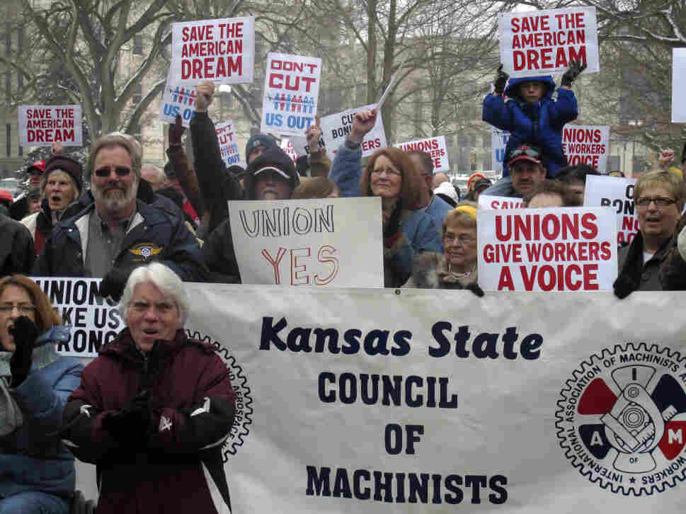 Hundreds of Kansans participate in a pro-union rally in Topeka, Saturday, Feb. 26, 2011.