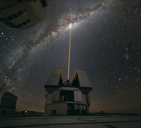 Astronomers observing the center of the Milky Way from the European Southern Observatory in Chile fire a laser into the heavens. The Laser Guide Star (LGS) is used as a reference to correct the blurring effect of the atmosphere on images.