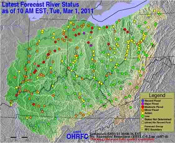 NWS flood status map for Ohio