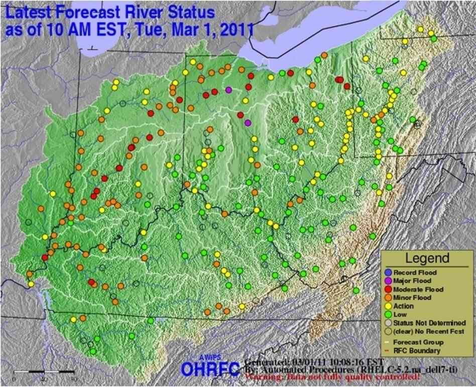 NWS flood status map for Ohio