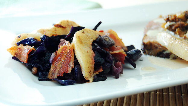 This dish incorporates red cabbage with pears, bacon, ginger and vermouth.
