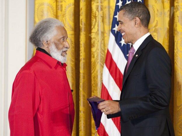President Barack Obama presents Sonny Rollins with his National Medal of Arts.