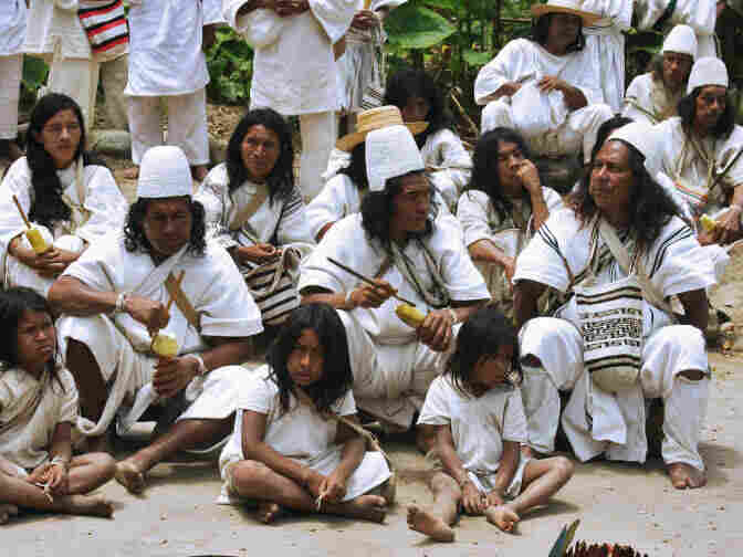 NABUSIMAKE, COLOMBIA: Colombian natives of the Arhuaco ethnic attend a ritual to pay tribute to nature in Nabusimake, department of Cesar, Colombia. The ritual also celebrates the summer solstice.