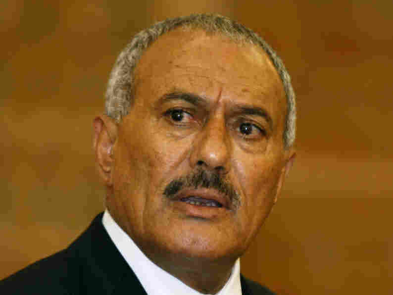 Yemeni President Ali Abdullah Saleh looks on during a media conference in Sanaa, Yemen, on Feb. 21. As protesters continue to demand that he step down, the U.S. has had to tread a delicate line. The leader has been aiding  America's counterterrorism   efforts.