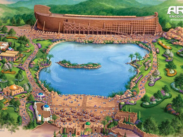 An illustration of the park, which will include a  replica  of Noah's Ark, a  first-century  Middle Eastern  Village, a Tower of Babel and a Walled City.