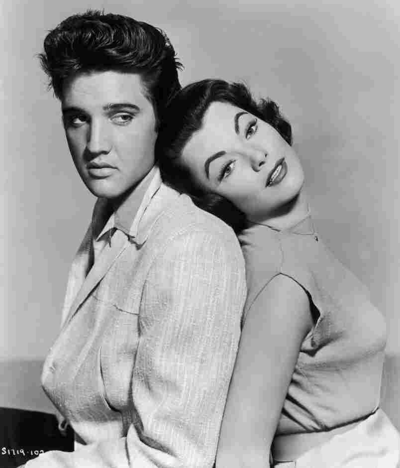 Elvis Presley and Judy Tyler in a January 1957 promotional photo for the musical film Jailhouse Rock.