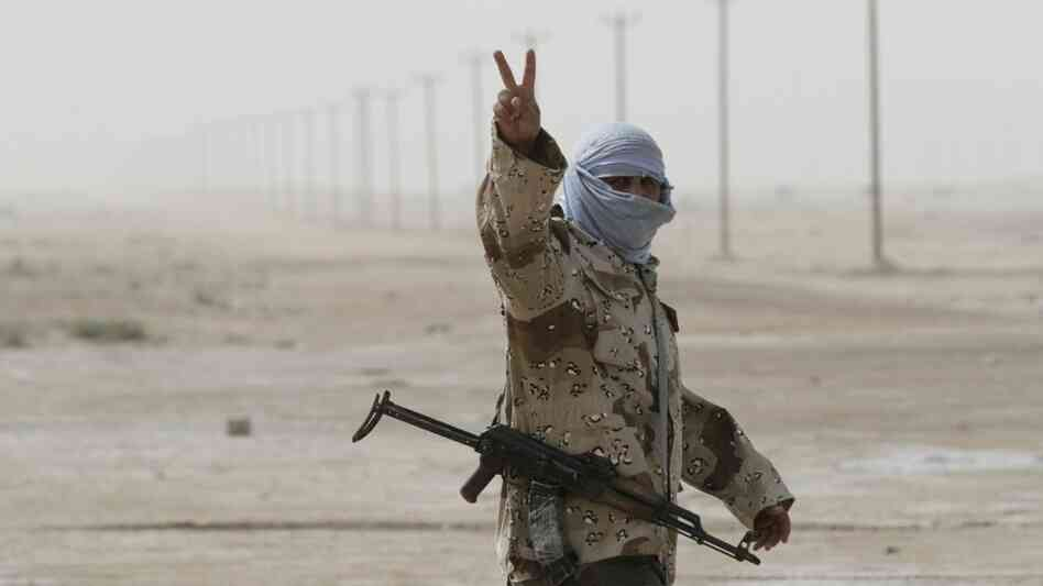 A Libyan rebel in Ajdabiya on Wednesday.