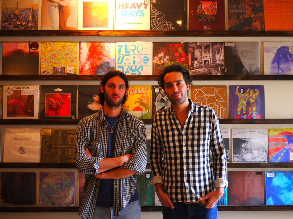 Keith Abrahamsson (left) and Andres Santo Domingo in the Mexican Summer store in Greenpoint, Brooklyn. (Jacob Ganz)