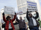 Backers of a bill to limit union rights protest outside the Ohio Statehouse, Wednesday, March 2, 2011.