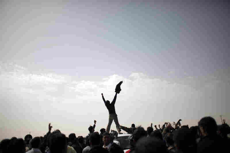 Libyan rebels in the northeastern city of Ajdabiya celebrate reports that the counterattacks led by Libyan leader Moammar Gadhafi have failed, on March 2.