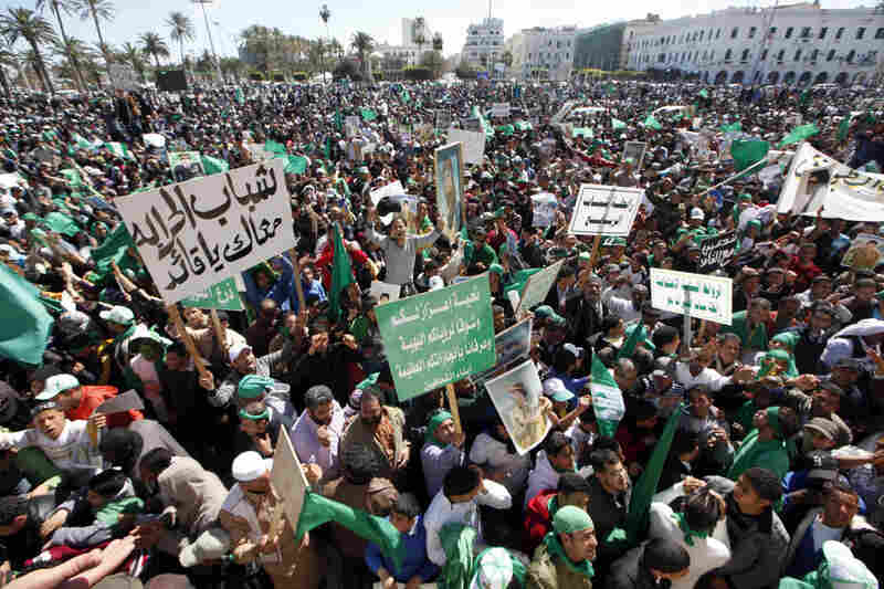 Thousands of pro-Gadahfi Libyans gather in Tripoli's Green Square on Sunday to celebrate victories over rebel forces.