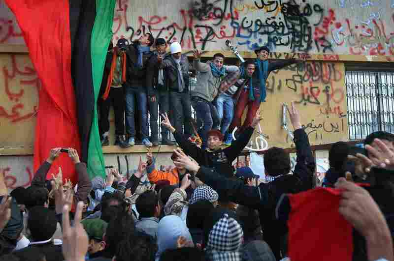 Crowds celebrate in Benghazi on Saturday, still demanding Gadhafi's removal from power.