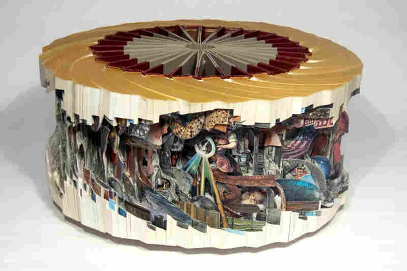Wagnalls Wheel made from a set of vintage encyclopedias.
