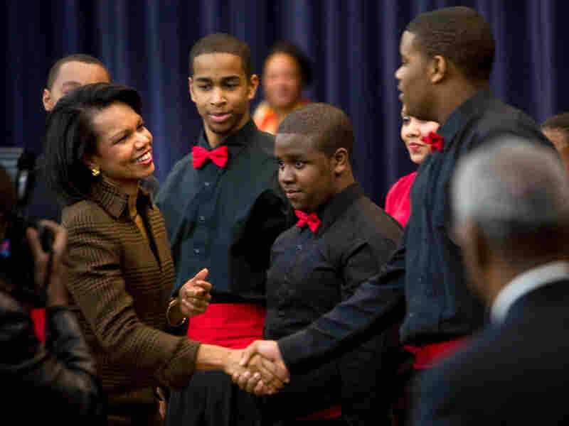 Secretary of State Condoleezza Rice thanks singers and dancers from the Duke Ellington School of the Arts during a Black History Month event at the U.S. State Department in Washington D.C. last month.