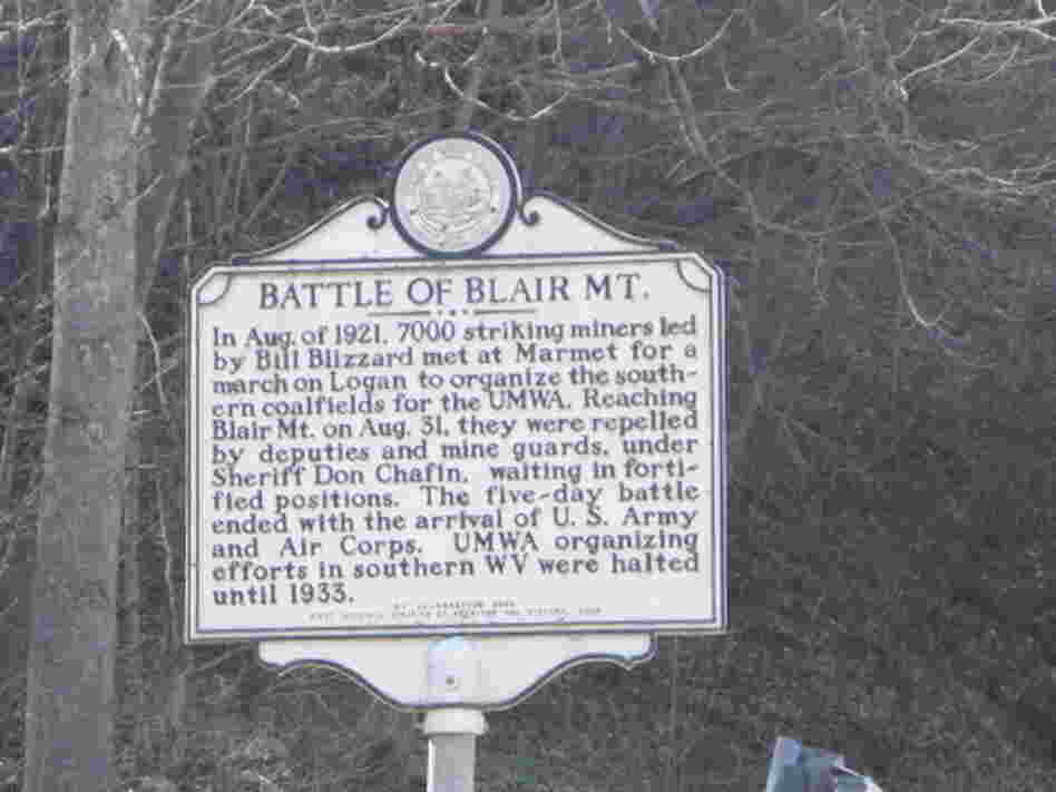 A sign commemorating the battle of Blair Mountain in Logan County, W.Va.