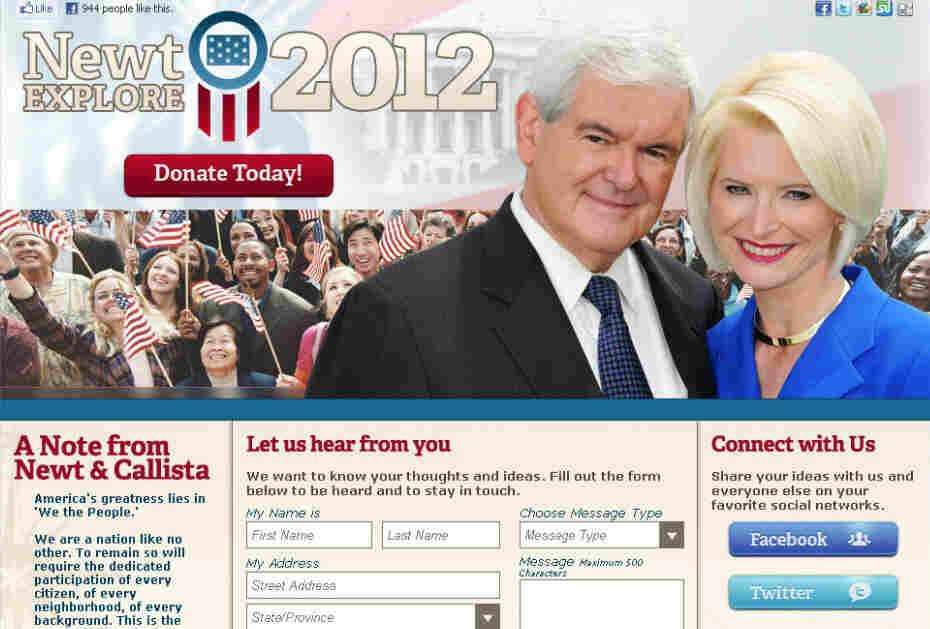 Gingrich web site screenshot.